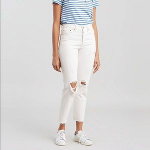 Levi's Distressed White Wedgie Fit Jeans